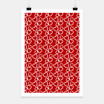 Red Glowing hearts pattern Poster obraz miniatury