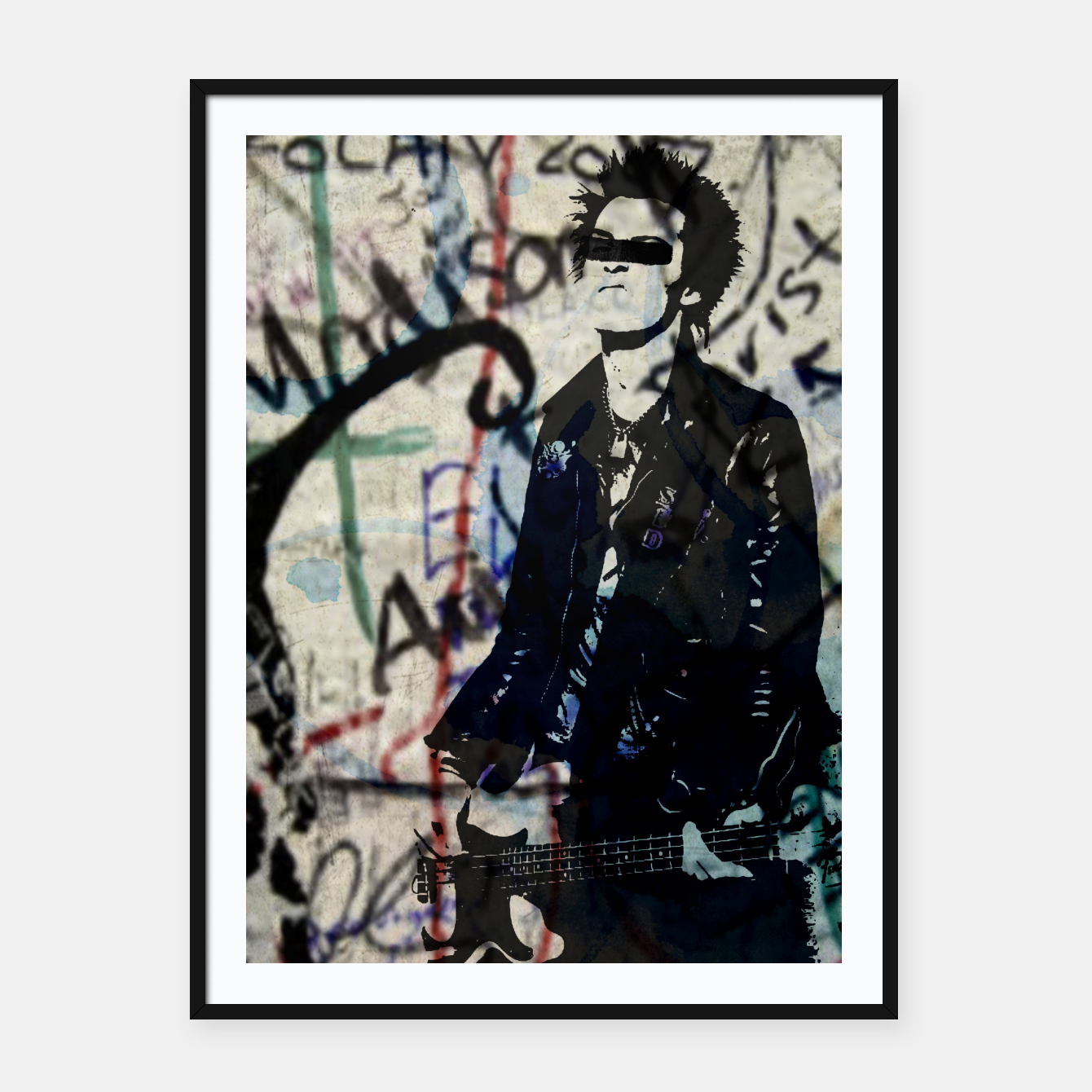 Foto Graffitied - Punk Vicious Framed poster - Live Heroes