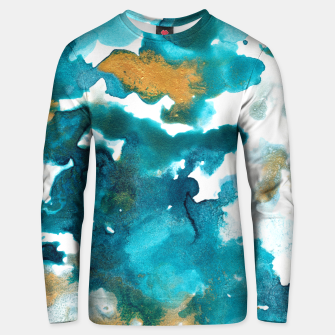 Miniaturka Aqua Teal Gold Abstract Painting #1 #ink #decor #art Unisex sweatshirt, Live Heroes