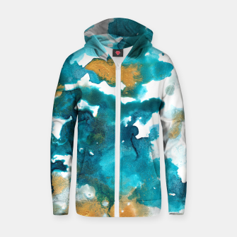 Miniaturka Aqua Teal Gold Abstract Painting #1 #ink #decor #art Reißverschluss kapuzenpullover, Live Heroes