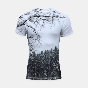 Thumbnail image of Trees and snow Shortsleeve rashguard, Live Heroes