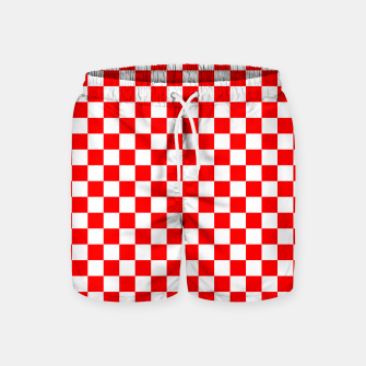 Miniatur Croatian Red White Checker Pattern Swim Shorts, Live Heroes