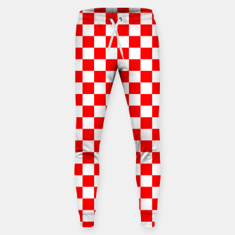 Miniatur Croatian Red White Checker Pattern Sweatpants, Live Heroes