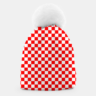 Miniatur Croatian Red White Checker Pattern Beanie, Live Heroes