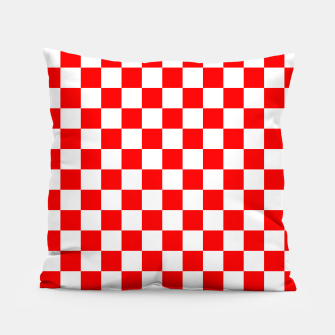 Miniatur Croatian Red White Checker Pattern Pillow, Live Heroes