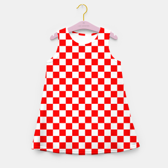 Miniatur Croatian Red White Checker Pattern Girl's summer dress, Live Heroes