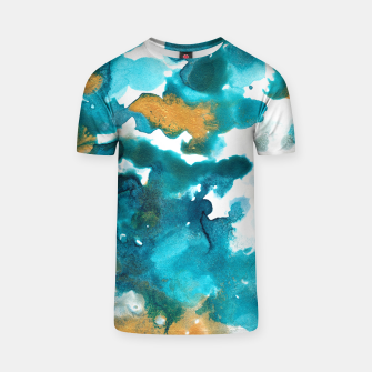 Miniaturka Aqua Teal Gold Abstract Painting #1 #ink #decor #art T-Shirt, Live Heroes