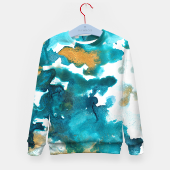 Miniaturka Aqua Teal Gold Abstract Painting #1 #ink #decor #art Kindersweatshirt, Live Heroes