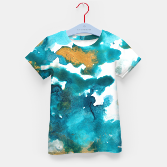 Miniaturka Aqua Teal Gold Abstract Painting #1 #ink #decor #art T-Shirt für kinder, Live Heroes
