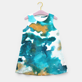 Miniaturka Aqua Teal Gold Abstract Painting #1 #ink #decor #art Mädchen-Sommerkleid, Live Heroes