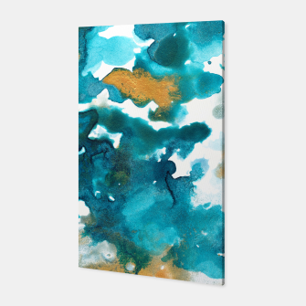 Miniaturka Aqua Teal Gold Abstract Painting #1 #ink #decor #art Canvas, Live Heroes