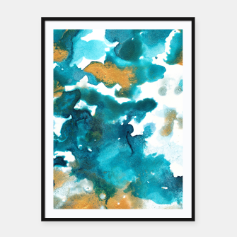Miniaturka Aqua Teal Gold Abstract Painting #1 #ink #decor #art Plakat mit rahmen, Live Heroes