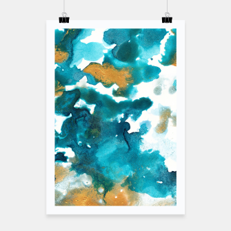 Miniaturka Aqua Teal Gold Abstract Painting #1 #ink #decor #art Plakat, Live Heroes