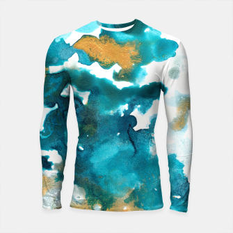 Miniaturka Aqua Teal Gold Abstract Painting #1 #ink #decor #art Longsleeve rashguard, Live Heroes