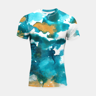 Miniaturka Aqua Teal Gold Abstract Painting #1 #ink #decor #art Shortsleeve rashguard, Live Heroes