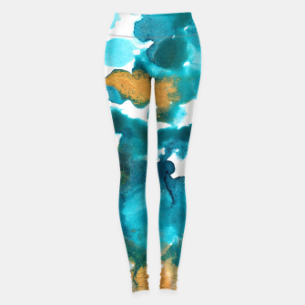 Miniaturka Aqua Teal Gold Abstract Painting #1 #ink #decor #art Leggings, Live Heroes