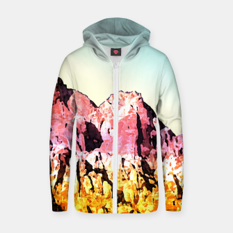 Thumbnail image of Gold and Pink Mountain Zip up hoodie, Live Heroes