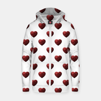 Miniaturka Sparkly Hearts Valentines Day pattern Zip up hoodie, Live Heroes
