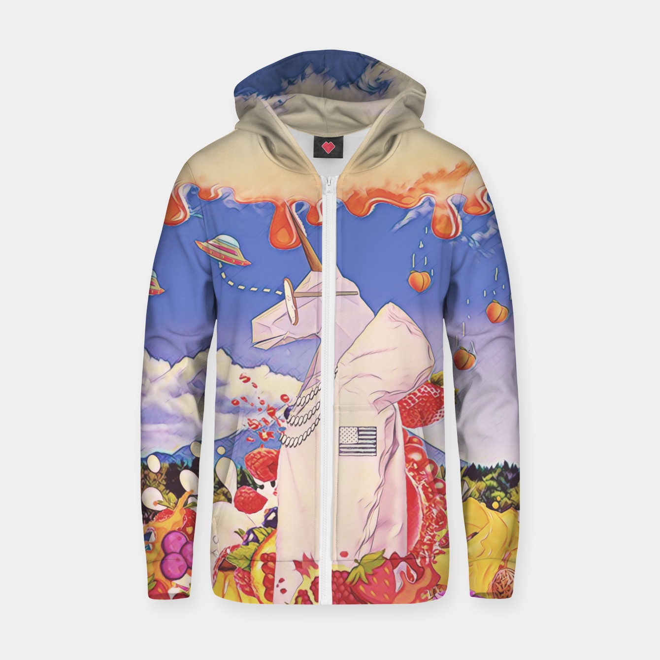 Image of White unicorn  Zip up hoodie - Live Heroes
