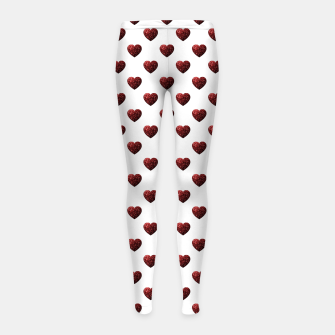 Thumbnail image of Sparkly Hearts Valentines Day pattern Girl's leggings, Live Heroes