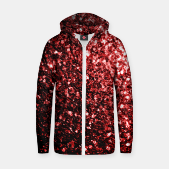 Thumbnail image of Beautiful Glamour Red Glitter sparkles Zip up hoodie, Live Heroes