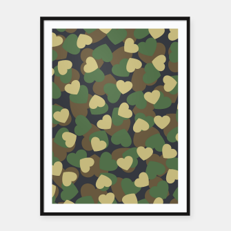 Thumbnail image of Heart Camo WOODLAND Framed poster, Live Heroes