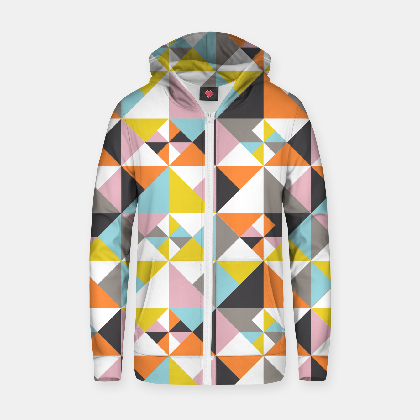 Image of Detailed Geometric Pattern - Multicolored Zip up hoodie - Live Heroes