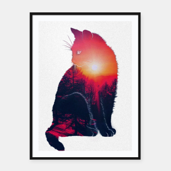 Thumbnail image of Sunset Cat Framed poster, Live Heroes