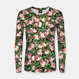 Pink roses Women sweater miniature