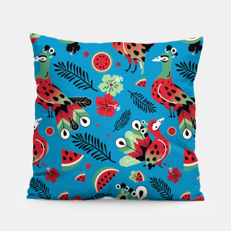 Thumbnail image of Peacocks and Watermelons Pillow, Live Heroes