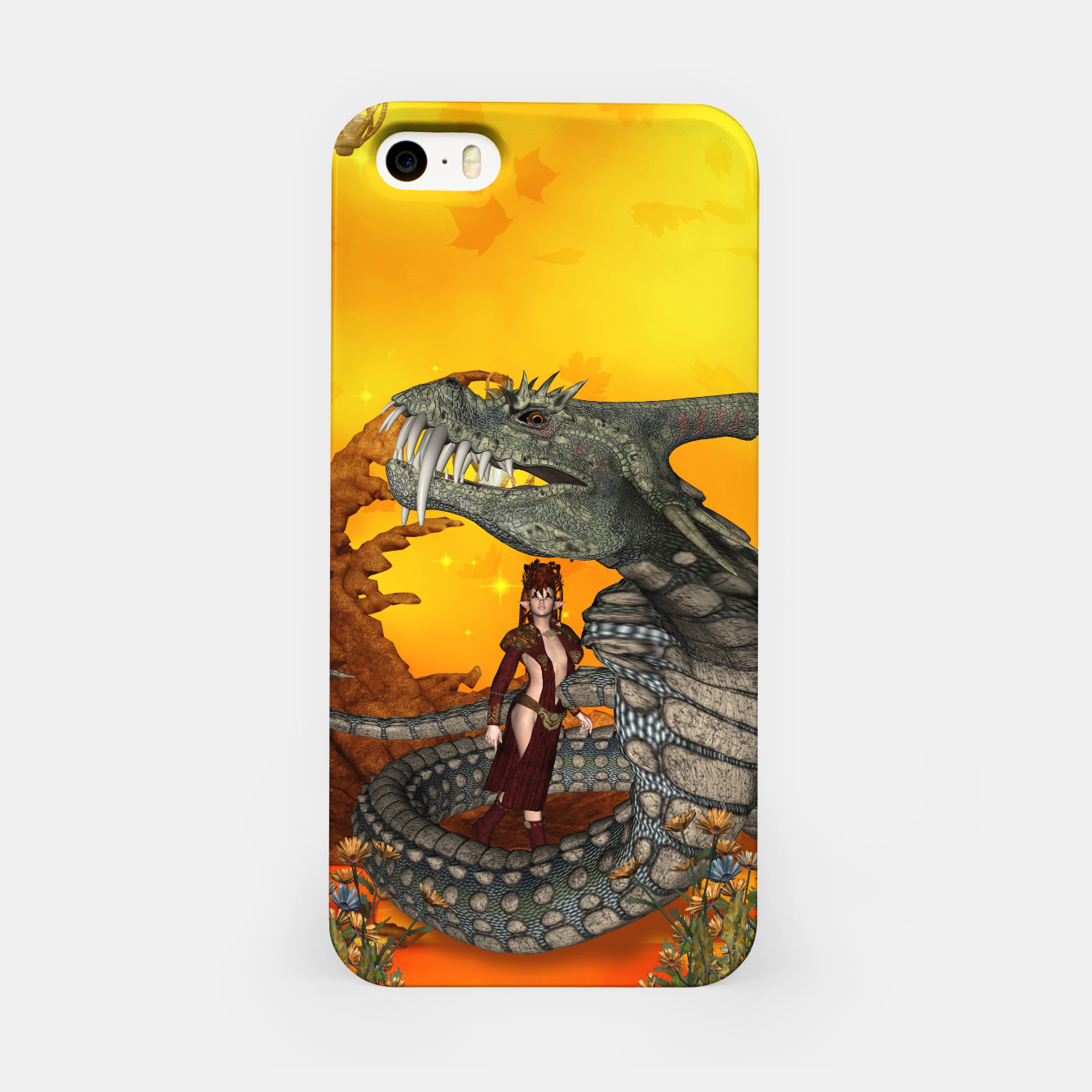Image of awesome fantasy cobra with fairy iPhone Case - Live Heroes