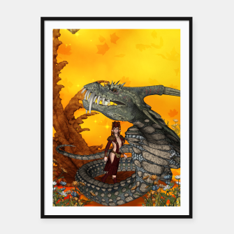 Miniature de image de awesome fantasy cobra with fairy Framed poster, Live Heroes