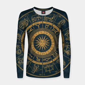 Miniaturka Vintage Zodiac & Astrology Chart | Royal Blue & Gold Women sweater, Live Heroes