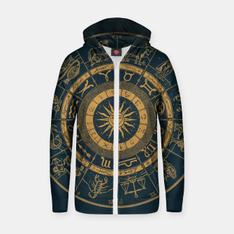Thumbnail image of Vintage Zodiac & Astrology Chart | Royal Blue & Gold Zip up hoodie, Live Heroes