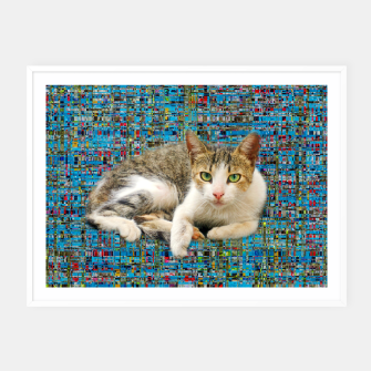 Thumbnail image of Cat on abstract background Plakat mit rahmen, Live Heroes