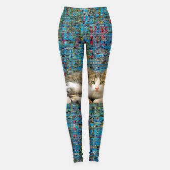 Thumbnail image of Cat on abstract background Leggings, Live Heroes