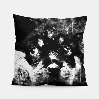 rottweiler puppy dog ws bw Pillow thumbnail image
