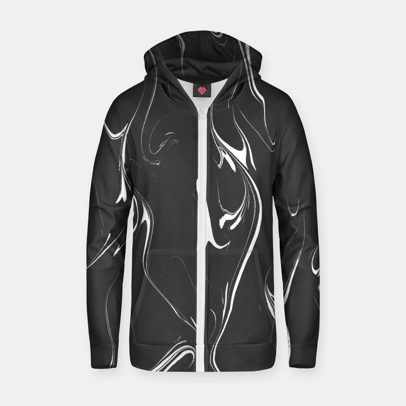 Image of Black and white marble background Zip up hoodie - Live Heroes