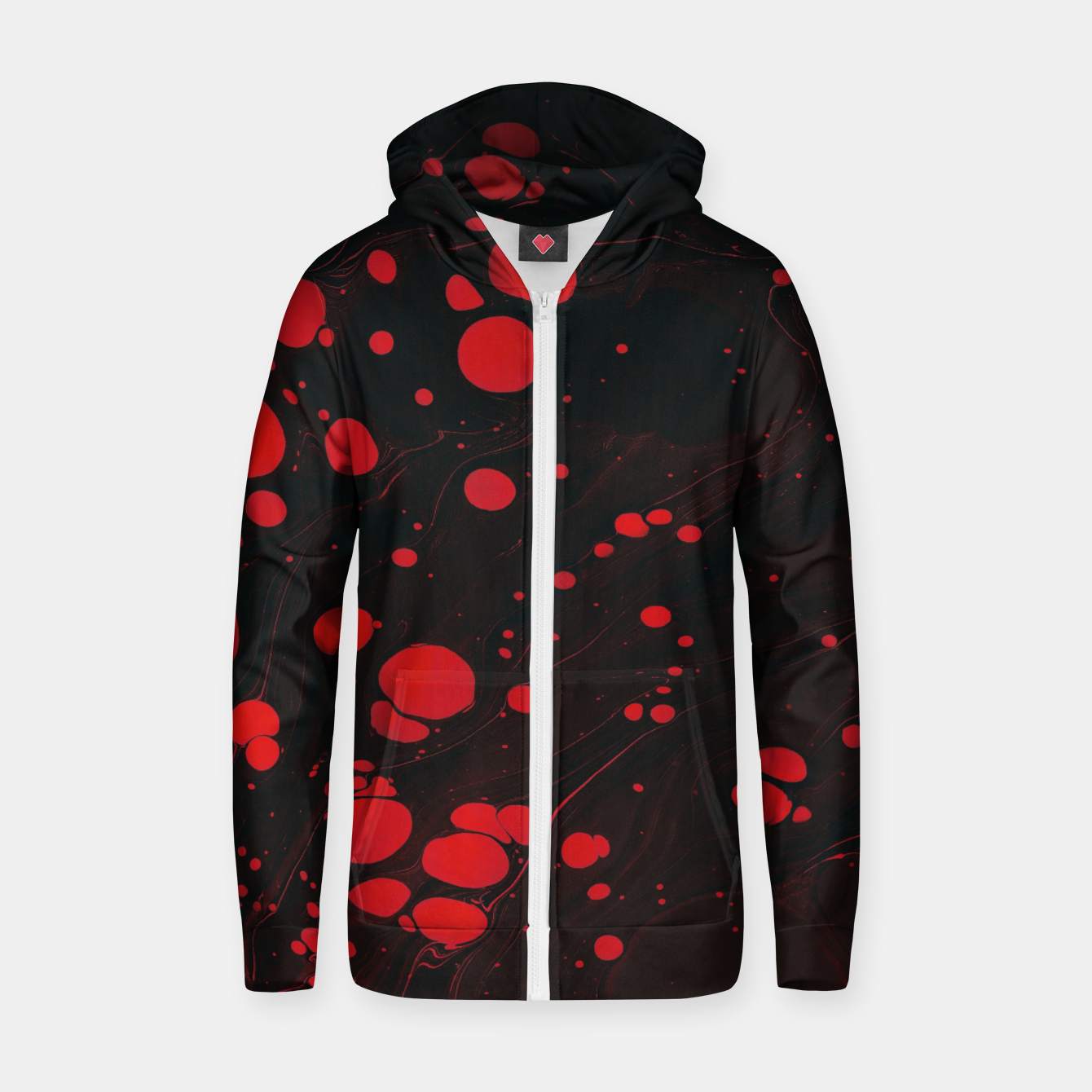Image of lack and red colors splatter Zip up hoodie - Live Heroes