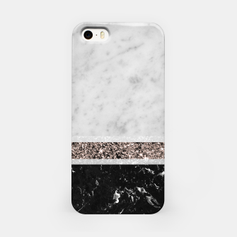 White and Black Marble Rose Gold Glitter Stripe Glam #1 #minimal #decor #art  iPhone-Hülle thumbnail image