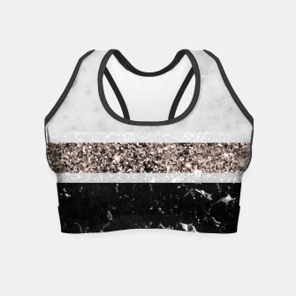 White and Black Marble Rose Gold Glitter Stripe Glam #1 #minimal #decor #art  Crop Top thumbnail image