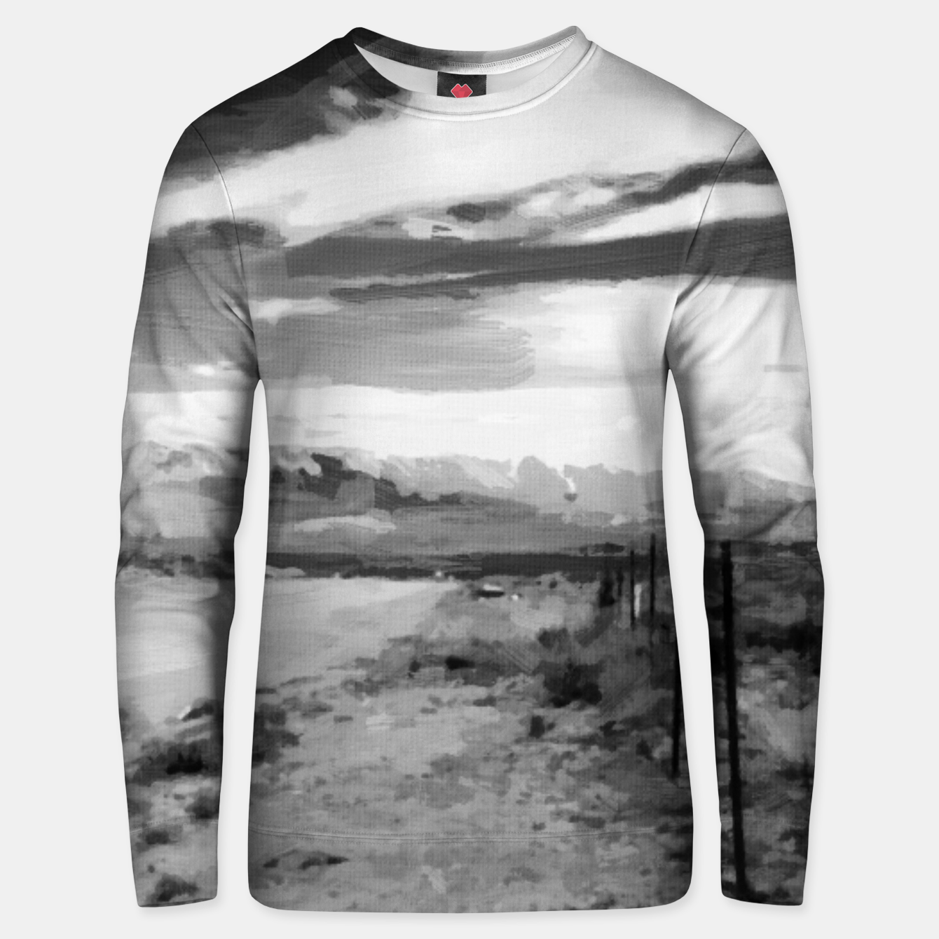 Image of hurricane valley digital oil painting akvop bw Unisex sweater - Live Heroes