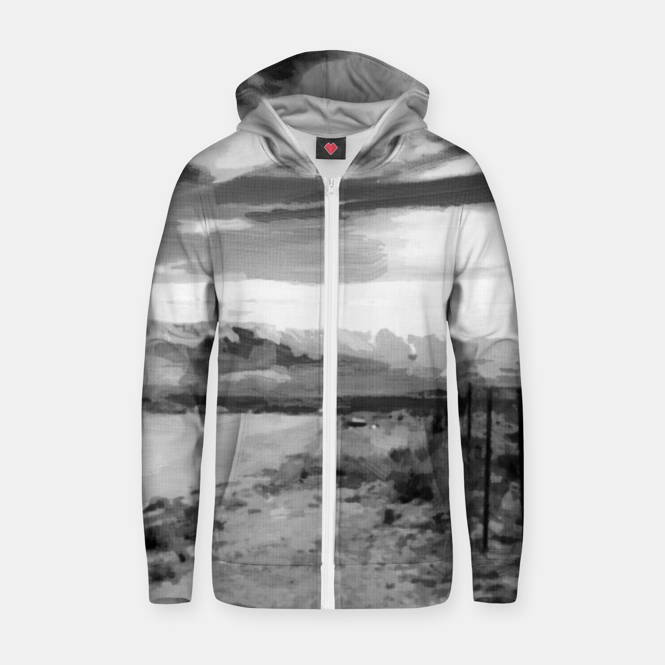 Image of hurricane valley digital oil painting akvop bw Zip up hoodie - Live Heroes