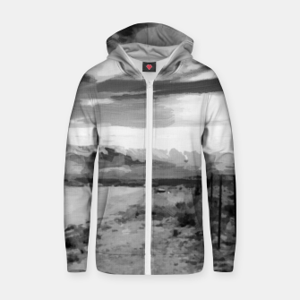 hurricane valley digital oil painting akvop bw Zip up hoodie thumbnail image