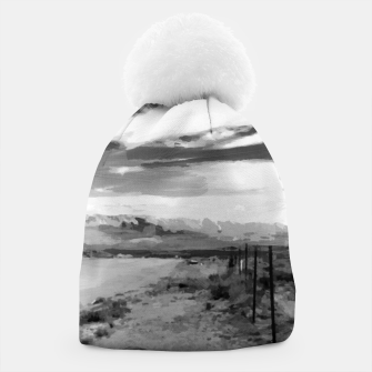 hurricane valley digital oil painting akvop bw Beanie thumbnail image