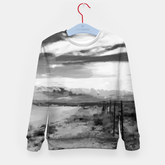 hurricane valley digital oil painting akvop bw Kid's sweater thumbnail image