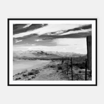 hurricane valley digital oil painting akvop bw Framed poster thumbnail image
