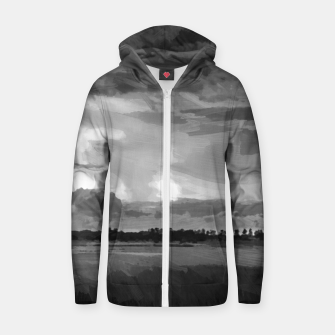 hurricane storm landscape digital oil painting akvop bw Zip up hoodie thumbnail image