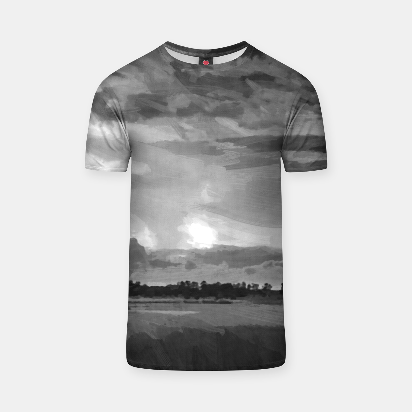 Image of hurricane storm landscape digital oil painting akvop bw T-shirt - Live Heroes