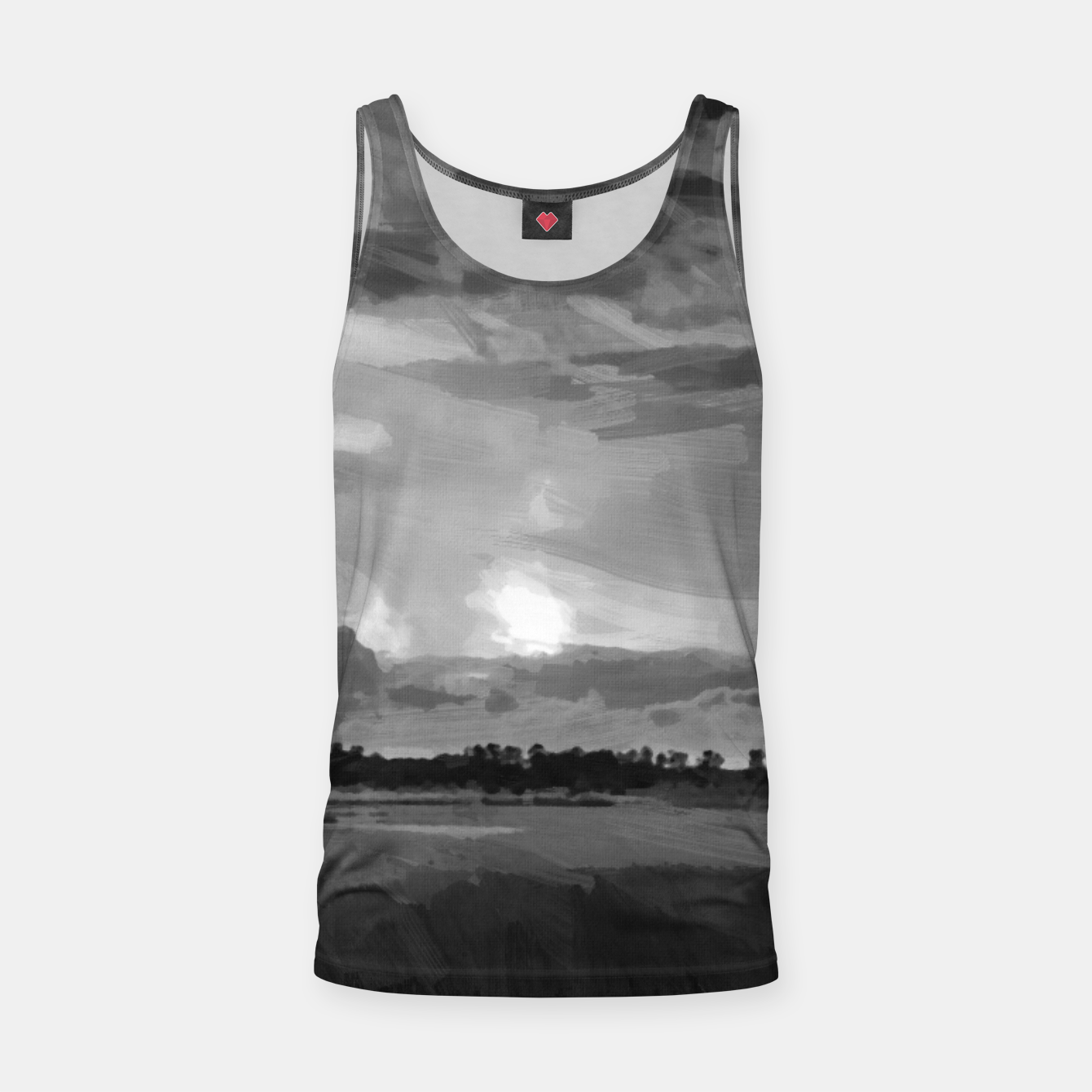 Image of hurricane storm landscape digital oil painting akvop bw Tank Top - Live Heroes